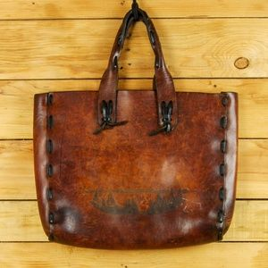 Vintage Handmade Leather Tote with Alaskan Theme